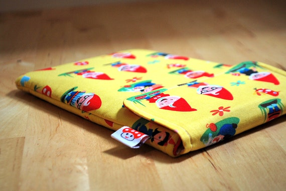 Kindle sleeve / cover for E-Reader /Tablet/PlayBook case  (Nexus, Fire, Kobo, Galaxy, Nook, BlackBerry)  --- Kitschy woodland gnomes