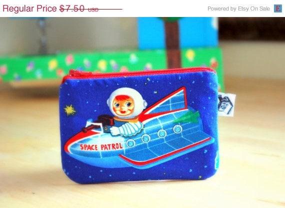 SALE- Camera bag / change purse / small zipper pouch--- Space patrol