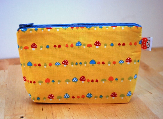 CLEARANCE- The small clutch / cosmetics case / hand bag --- Little mushrooms on yellow