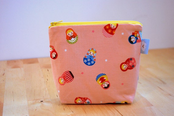 CLEARANCE- The small clutch / cosmetics case / hand bag --- Nesting doll's
