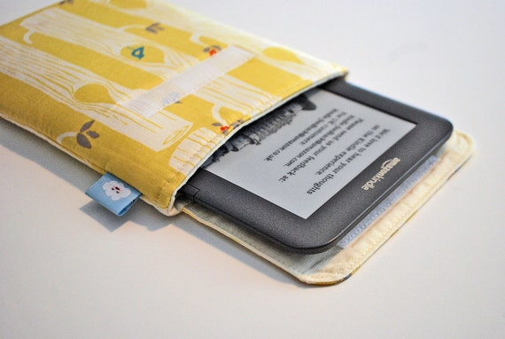 Ereader cover, Kindle cover, fits Fire, Nexus, Galaxy, etc. fits most Ereaders and Small Tablets---  Woodland on lemon yellow