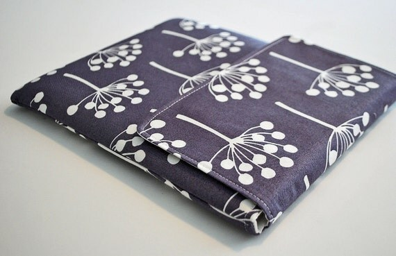 Ipad cover / Ipad sleeve / Ipad case / padded bag for tablets / net books--- Spring buds on grey --- LAST ONE AVAILABLE