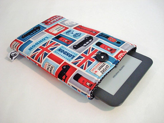 E-reader cover, Kindle case, Kindle sleeve. Fits small tablets and most E-readers -- London London