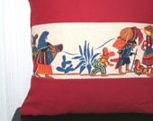 Pillow cover depicting traditional Mexican or Latin American scene in paprika cotton twill custom size ---Sale 30% off---