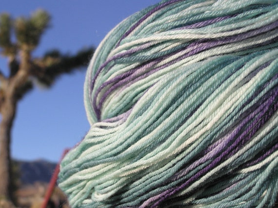 Fingering Weight Yarn - Merino Wool, Cashmere, and Nylon - Purple Sage in Bloom