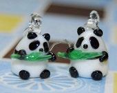 Panda Earrings Sterling Silver SALE
