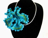 Turquoise & Green Crocheted Necklace RESERVED FOR DRSPHINX - Hyperbolic Sea Flower