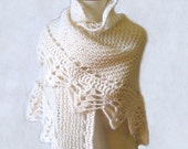 Romantic Wedding White Shawl - Knitted Crocheted Lace