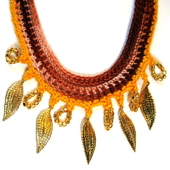 Crocheted Beaded Necklace - Golden Leaves Fall Fashion - RESERVED FOR WINTER