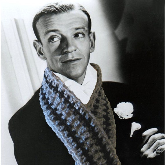 Fred Astaire Crochet Scarf - Movie Star Idol Series - Black and Gray Wool - Holiday Gift