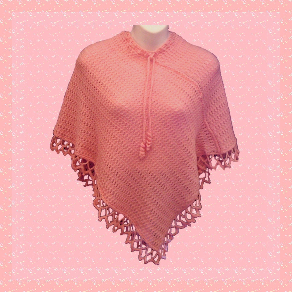 Knitting Pattern Lace Jacket : Knit Lace Poncho Capelet Bed Jacket Pink Rose by KnittingGuru
