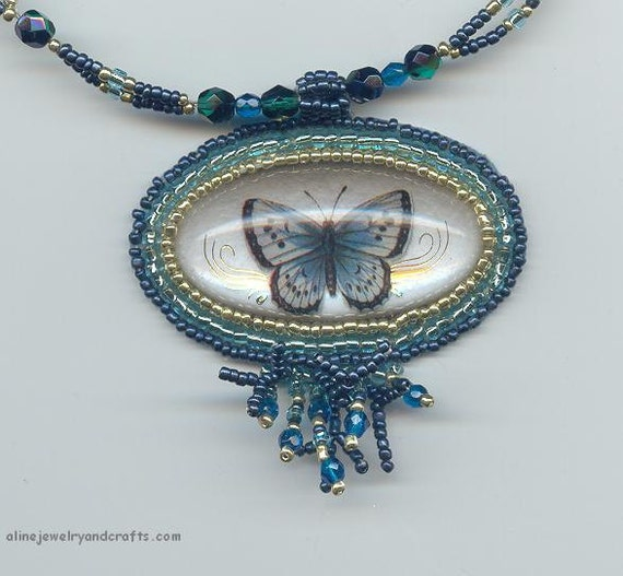 Blue butterfly bead embroidery necklace