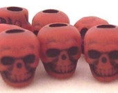 20 Red Skull Beads Plastic Goth Psychobilly Day of the Dead Lolita ZNE ESST