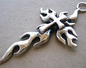 Pendant Silver Pewter Flame Cross 60mm ESST
