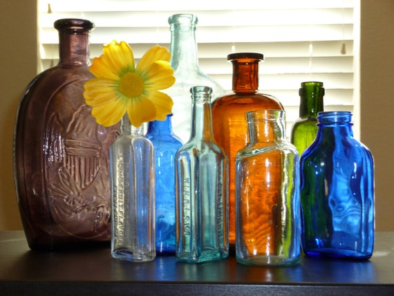 Glass Bottles Colorful Vintage and Collectibles