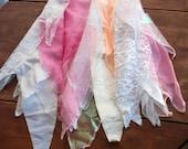 Pink & white fairy rag skirt, small