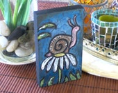 SNAIL  Painting Daisy Snail Shell Cute Mini wood Block painting