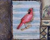 Male Cardinal - Vintage Impressions Collage Unique Original Muti Media Art work