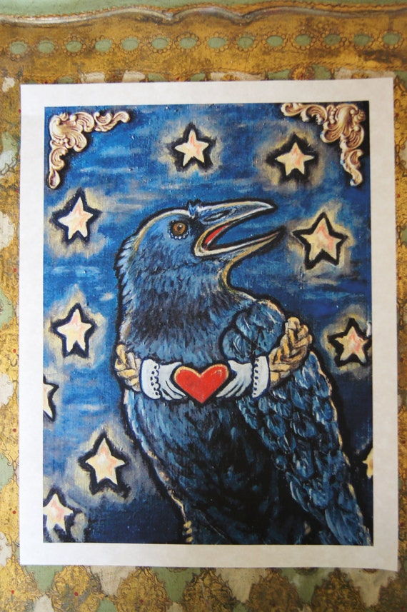 RESERVED FOR LETEMROLL - Claddagh Crow - Print from Original Wood Block Painting - Artistic Environments