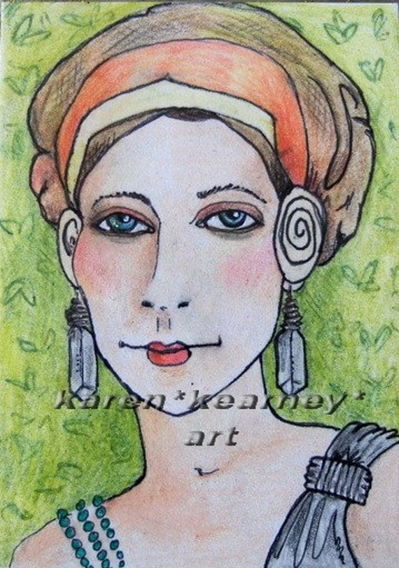 ACEO Original - MISS INTRIGUE - Zora -  Glamour Deco Girl