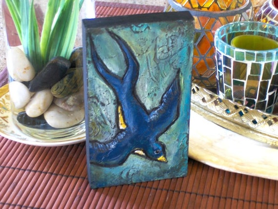 SWALLOW Painting Turquoise Blue Farm Bird - Cute mini painting on Wood Block