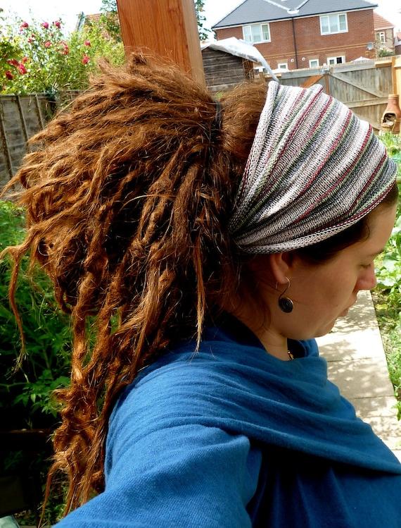 Lime Stripe Hippie Boho Traveler's Cotton Stretch Headband / Dreadlock Band