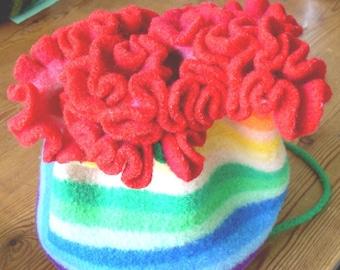 Knitting Pattern Felted Drawstring Purse Handbag (PDF-instant download)