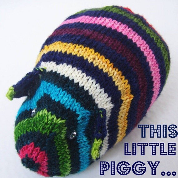 Guinea Pig Toy Knitting Pattern : Hand knit TOY Guinea Pig Hand painted yarn A by PippsPurses