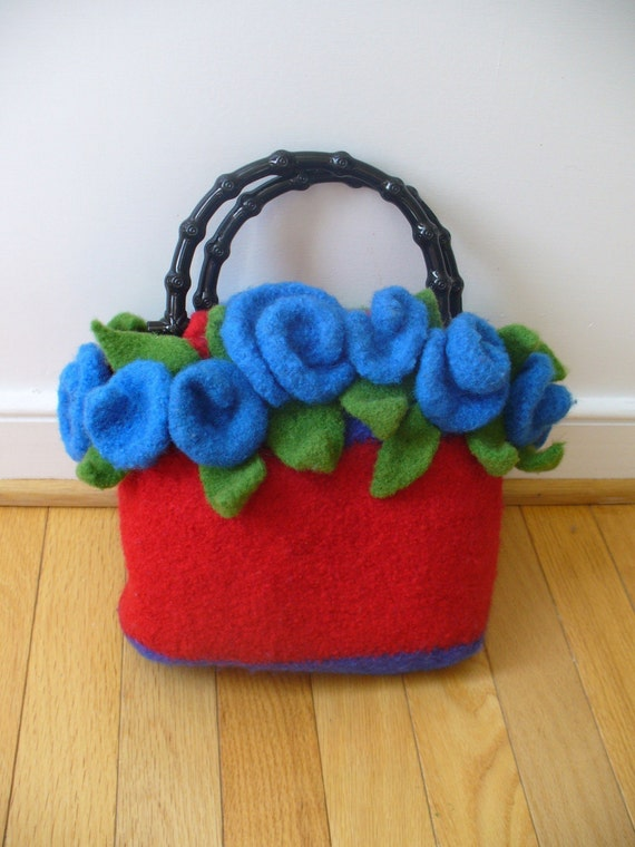 Knitted Clutch Pattern : Felted Knitting Pattern Clutch with bonus Roses Pattern (PDF - digital ...