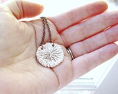 Creamy White Mushroom Cap Porcelain Pendant Necklace