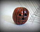 Creepy Little Rustic  Stoneware Jack O Lantern, One of a Kind