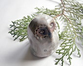 Reserved for M, Mistletoe Snowy Owl Sculpture, Stoneware Ceramic