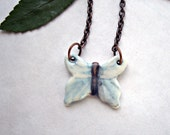 Watercolor Butterfly Hand Painted Porcelain Pendant Necklace with Copper Chain