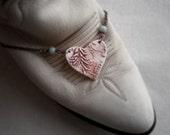 Rusty Lace Porcelain Heart Necklace