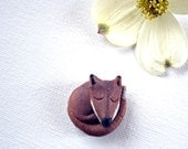 Rustic Stoneware Ceramic Sleeping Fox  Pin Hand Sculpted Original