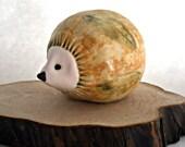 Porcelain Leafy Hedgehog Sculpture for Home or Cabin Decor