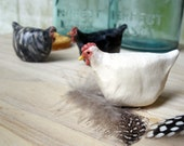 Ceramic Chicken Sculptures, Black Australorp, Plymouth Rock, White Leghorn, Set of THREE -Made to Order
