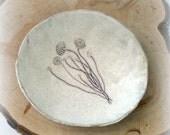 Delicate Mushroom Faux Bois Stoneware Art Bowl or Trinket Dish