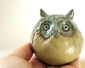 Rustic  Woodland Owl Stoneware Sculpture