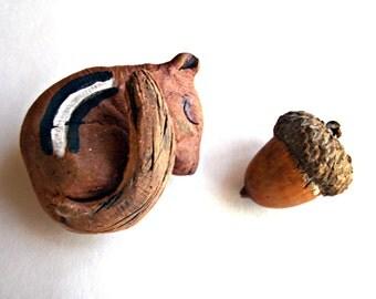 Woodland Sleeping Chipmunk Stoneware Sculpture, Made to Order