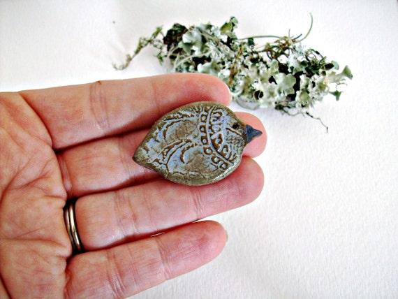 Rustic Periwinkle Blue Lace Bird Stoneware Ceramic Pin