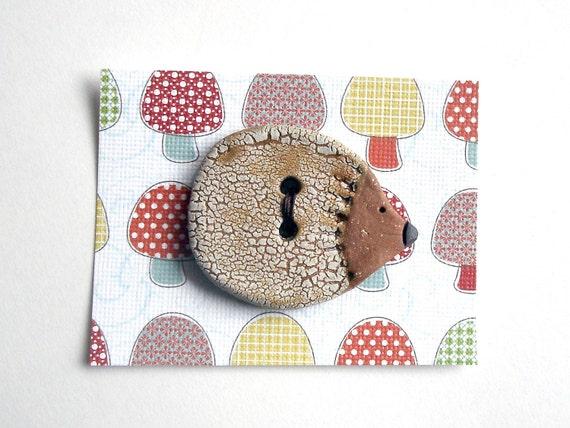 Ceramic Button, White Crackle Hedgehog Decorative Stoneware Focal Button,  1 inch
