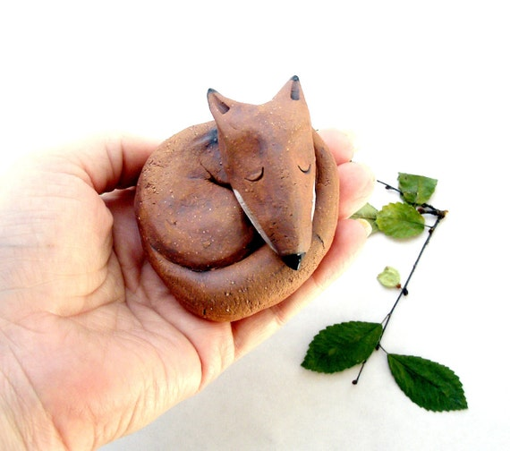 Reserved for Rae, RUSTIC Stoneware Sleeping Rusty Fox  Sculpture, Made to Order