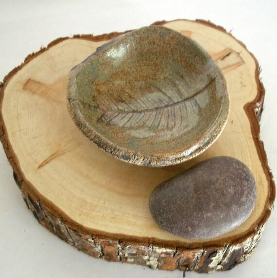 Rustic Faux Bois Woodland Fern Garden  Stoneware Bowl