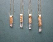 Quartz Crystal Point Necklace - Brass bail, gold-filled chain
