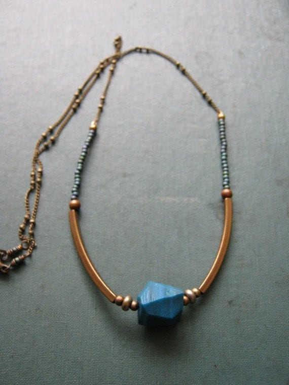 SALE - 20% off - Geo Necklace Teal