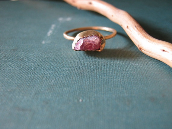 Pink Tourmaline - Brass Stacking Ring - Rustic