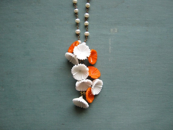 SALE 20% off - The Bride's Necklace - Freshwater Pearl with Orange and White Vintage Glass Flowers
