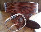 Wood Grain Leather Belt