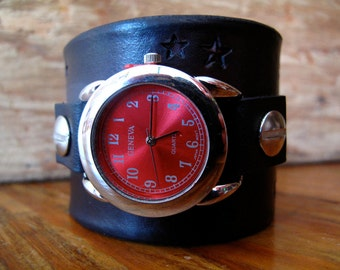 Red Stars Black Leather Buckle Watch Band